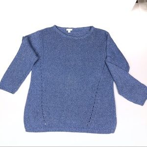 J. Jill blue marled cotton pullover sweater size M